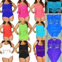 Wholesale 2015 Newest Plus Size Bikini Women Ladies Sexy Retro Padded Push Up Tassel High Waist Bikinis Set Swimwear Swimsuit Bathing Suit
