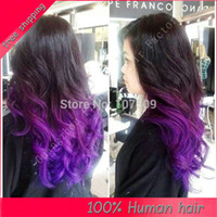 Cheap Two Tone Full Lace Wig Lace Front Wigs Ombre Human Hair Wigs 6A Remy Brazialian Loose Wavy #1b Purple Baby Hair