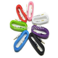 Wholesale 1pc Colorful mm Stereo Auxiliary Cable Male to Male Flat Audio Music Aux Cord New