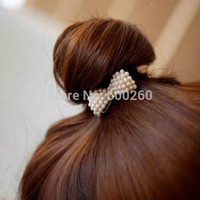Wholesale 2015 New Style Fashion Lovely Pearl Bow Bowknot Hair Band Hair Clip Elastic Hair Accessories