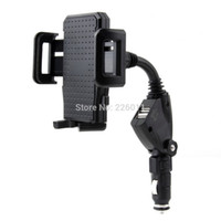Wholesale Dual USB Port Car Charger Cell Phone Mount Holder for Mobile Phones GPS