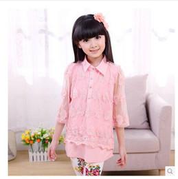 Wholesale-2015 summer children clothing fashion solid lace lapels kids shirt girls shirt