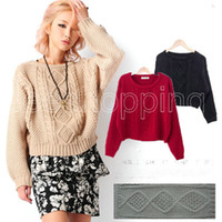 Cheap Wholesale-Q533 Retro Vintage New Women Ladies Short Waist Solid Argyle Long Sleeve Casual Loose Pullover Jumper Knitted Sweater Knitwear