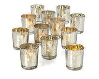 Wholesale 2 inch tall glass mercury votive candle holder in silver Hot