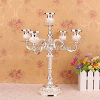 metal candle stand - metal silver gold plated arm candelabra candlesticks candle Holders set stand for wedding home decoration