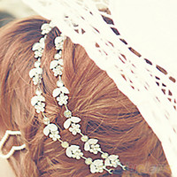 Wholesale Fashion Women hair accessories Hot New Silver Plated Crystal Flower Elastic Hair Band Headband F9