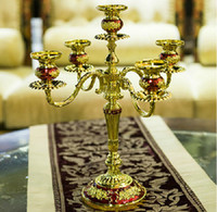 candelabra wedding - light Continental Gold red zinc alloy metal classic royal candelabra candlestick Hotel KTV wedding gifts