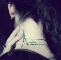 sex tools for men - Waterproof Temporary Tattoo Stickers Cute Blue Eiffel Tower Designs Body Art for Woman Man Sex Products Makeup Styling Tools