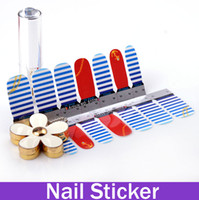 Wholesale Anchor and Stripes Nautical Nail Art Vinyl Decal Sticker Nail Wraps UV Gel Sticker