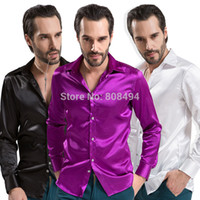 Cheap Wholesale-Top grade Mens fashion casual slim fit long sleeve desigual faux silk formal dress shirts plus size XS-XXXL