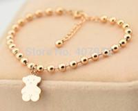 Wholesale new fashion women little bear bracelet titanium steel bead bracelets gold bangles TS