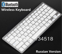 Wholesale Brand New Russian V3 Bluetooth Wireless White Russian Keyboard Portable for PC Macbook aMac pad android phone laptop Tablet