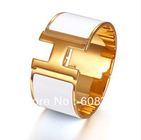awesome gold - Awesome Designer Extra Wide Clic Clac Enamel Bracelet Elegant White Enamel With Gold Plated Hardware A Fabulous Gift For Women