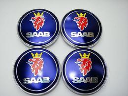 Wholesale-Free shipping 4PCS 60mm Wheel Center Caps Hub Cap stickers for Saab 93 9-3 9-5 900 9000 9-3X 9-7X