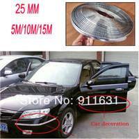 aluminum trim molding - 25mm X meters Roll Car Sticker Car Aluminum Stickers Car CHROME TRIM MOLDING STRIP GRILL INTERIOR EXTERIOR CAR STYLING