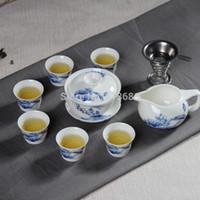 porcelain teapot white - Blue and White Porcelain Kung Fu Tea Set Ceramic Tea Cup With Teapot And Gaiwan