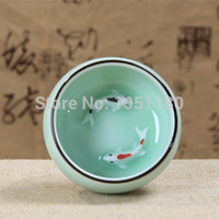 ceramic crafts - Celadon Ceramic tea cup ml double gold fish cup embossed crafts Chinese Kungfu high grade teacups