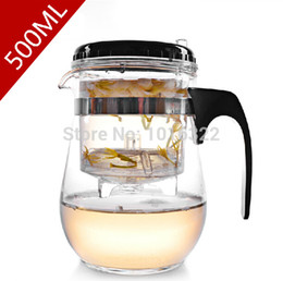Wholesale ml high temperature resistance of glass tea pot with filter new office tea infuser integrative convenient design for sale