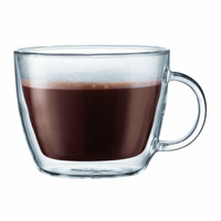 Wholesale Bistro Double Wall Insulated Glass coffee Latte Mug Set of