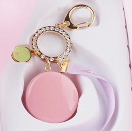 Wholesale-Free shipping high quality LADuree Macaron Keychain rhinestone ribbon Keyring key chain with box gifts to send friends