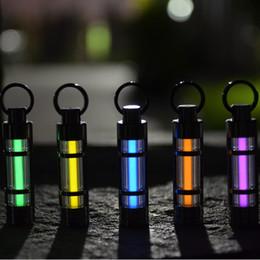 Wholesale Automatic light years Titanium tritium keychain key ring fluorescent tube lifesaving emergency lights