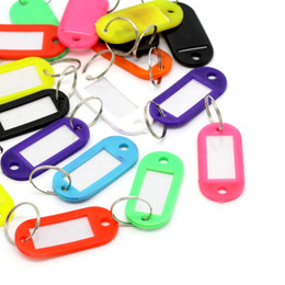 Wholesale-50PCs Rubber Key ID Labels Tags With Name Cards Split Ring 6.6cmx2.2cm HOT sale