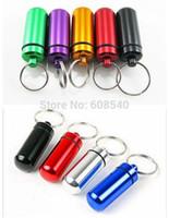 Cheap Wholesale-1PC Mini Waterproof Aluminum Pill Medicine Box Case Bottle Holder Container Keychain Key Chain Organizer AE01479