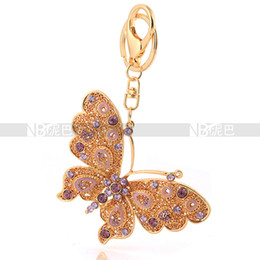 Wholesale- Wholesale 18k Gold Plated KeyChains Jewelry Flying Butterfly Pendant for Women Handbag Charm Free Shipping