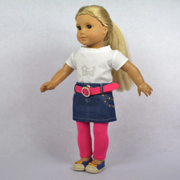 "Wholesale-Doll Clothes Fits 18"" American Girl Doll, Doll Dress, Outfit, T-Shirt+ Denim Skirt+ Pink Tights + Belt,4pcs, Girl's Gift,"