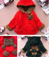Cheap Wholesale-wholesell baby kids warm fleece coat hoody jacket winter thick overcoat with hat red blue brown free shipping