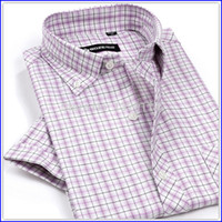 oxford shirts - Slim fit Short sleeve mens dress Plaids Oxford shirt masculina Camisa MZ