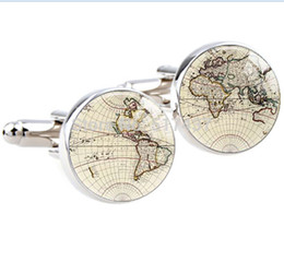 Wholesale pair World Map Cufflinks Silver plated Old World Map Cuff links for men and women Accessories Antique Vintage cufflinks