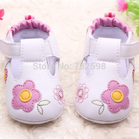 baby flats - PU Leather Girls Kids Newborn Baby Flat First Walkers Shoes Princess printing flower Soft Bottom Prewalker Shoes