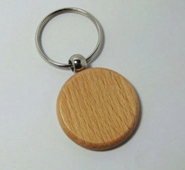 Wholesale-Wholesale 10pcs Round Blank Wooden Key Chain Promotion Carving Circle Key ID Engrave Gift 1.6'' -Free Shipping