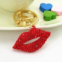 Wholesale Fashion Red Little Lip Keychain Bag Charm Animal Rhinestone Key Ring D Car Crystal Movable Cute Gift