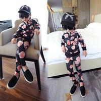 Wholesale Kids Girls Set Sports Costumes Jogging Flower Pieces Set Tracksuits Top amp Pant Sport Suit Children s Clothing Set CW