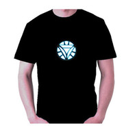 Wholesale The Avengers Tony Stark LED Iron Man Sound Activated Arc Reactor Mens Tee T shirt