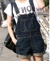 Cheap Wholesale-2015 Korean Stylenanda Cute Style Big Pocket Black Short Denim Bib Pants, Casual Roll-up One-piece Jeans Jumpsuit Shorts Rompers