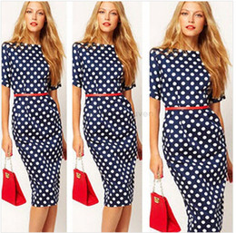 Wholesale-Brand New Women Work Wear Formal Office Dresses Ladies Elegant Casual Bodycon Polka Dot Party Pencil Dress