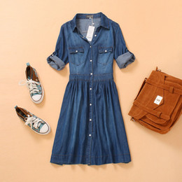 Wholesale-2015 autumn new plus size woman clothing, female fashion loose casual denim dress, three quarter sleeve one-piece dress