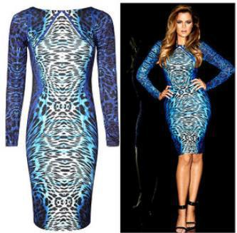 Long Sleeve Knee-length Blue Leopard Print Dress Plus Size Women ...