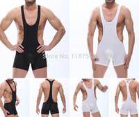 Wholesale Men s Sexy Mesh Spandex Bodysuit Thong Leotards Unitard Men Solid Wrestling Singlet Teddies Adult Vest Underwear Suspender S M L
