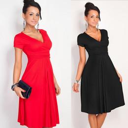 Wholesale-New 2015 casual women dress V-neck knee-length solid dress plus size high waist fashion simple winter dress vestidos