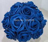foam flowers - pc Royal Blue Foam Rose Wedding Bridal Bouquet Artificial Centerpiece Floral Flower Table House Decoration quot