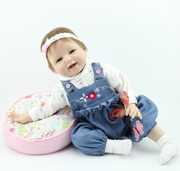 Wholesale Inches Silicone Vinyl Reborn Baby Dolls Boy Smiling Real Photo Handmade Boneca Reborn Baby Alive Toys Girls Birthday Gift