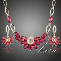Wholesale AZORA K Gold Plated Ruby Swiss Cubic Zirconia Peacock Pendant Necklace and Drop Earrings Jewelry Sets TG0143
