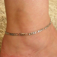 Cheap Wholesale-1pc Adjustable 3MM Figaro Chain Anklet Ankle Bracelet for Women Lady Girl