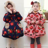 Wholesale girls faux fur coat kids children brand pattern fruit Strawberry girls hooded jacket down jacket kids