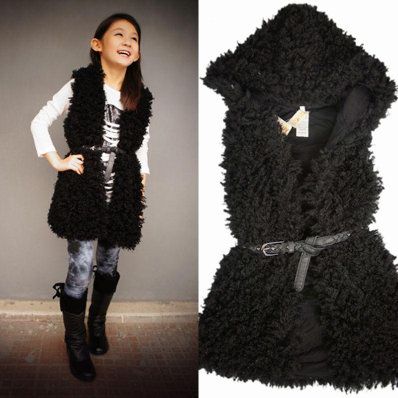 Wholesale-Faux Fur Waistcoat Girls Black Fur Vest 2015 New Fashion ...