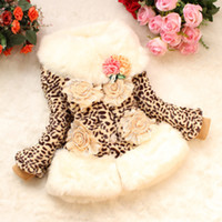 Wholesale Retail Girls faux fur coat Autumn Winter Clothes Kids Toddler outwear children s Sweet flower outerwear jackets Warm clothing